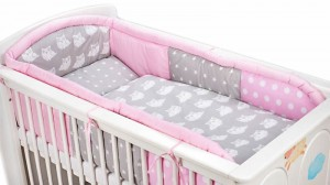 3 - elements bedding set for crib with long protector collection COLORS pink