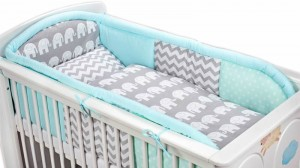 3 - elements bedding set for crib collection COLORS mint