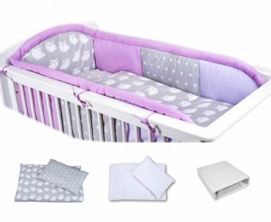 6 - elements bedding set for crib with long protector collection COLORS violet